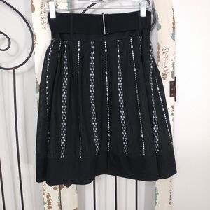 Black embroidered skirt with belt size 3
